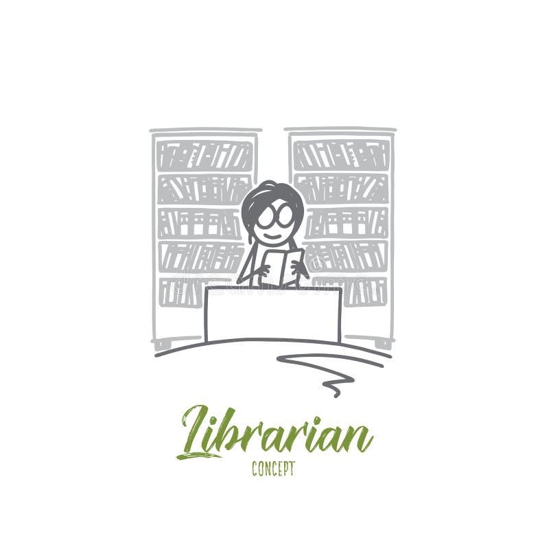图书管理员概念 手拉的被隔绝的传染媒介 皇族释放例证