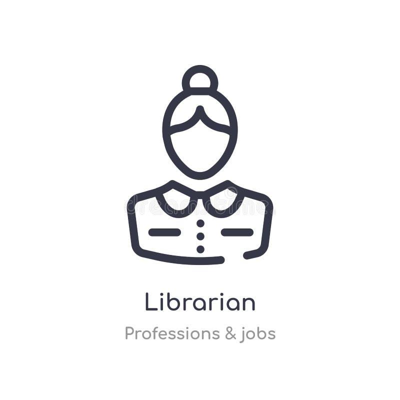 图书管理员概述象 被隔绝的线从行业&工作汇集的传染媒介例证 编辑可能的稀薄的冲程图书管理员象 向量例证