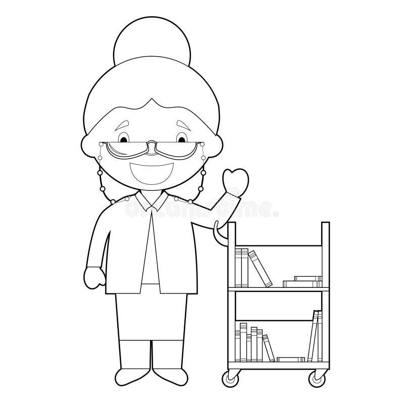 图书管理员的容易的上色动画片传染媒介例证 皇族释放例证