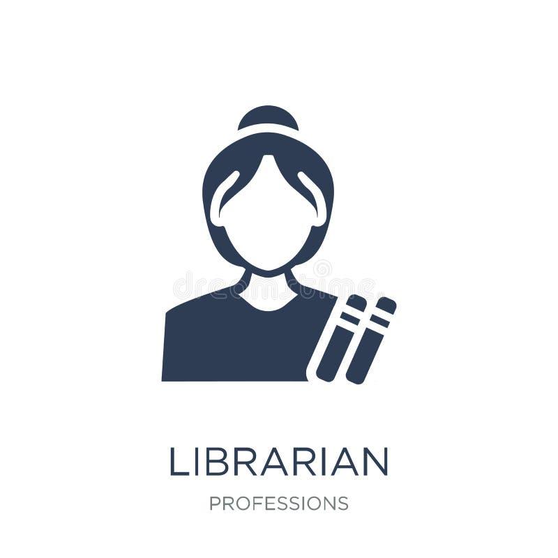 图书管理员象 在白色backg的时髦平的传染媒介图书管理员象 库存例证
