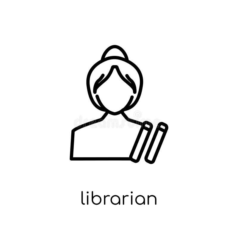 图书管理员象 时髦现代平的线性传染媒介图书管理员象 库存例证