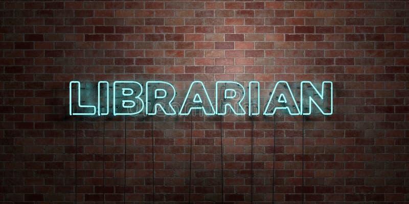 图书管理员-在砖砌的萤光氖灯标志-正面图- 3D回报了皇族自由储蓄图片 皇族释放例证