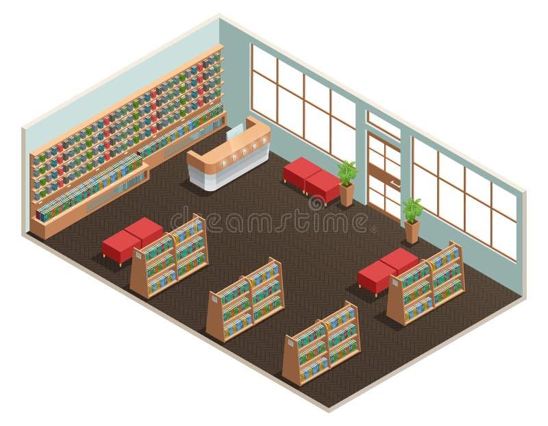 图书馆内部等量 皇族释放例证