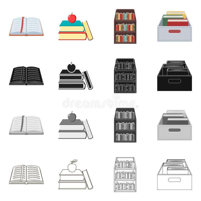 图书馆和课本商标的传染媒介例证 图书馆和学校股票的传染媒介象的汇集 库存例证