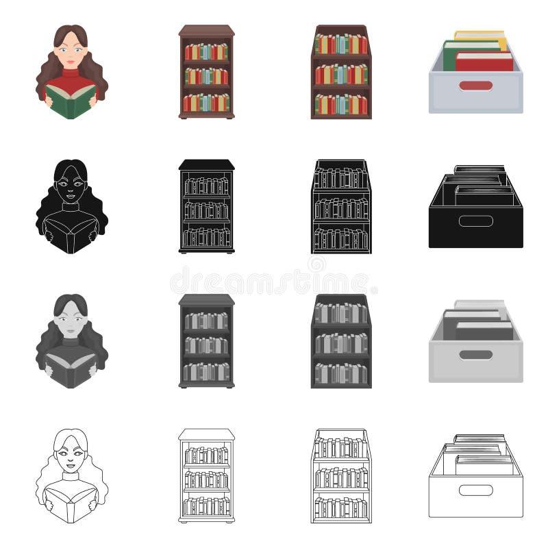 图书馆和课本商标的传染媒介例证 设置图书馆和学校股票的传染媒介象 向量例证