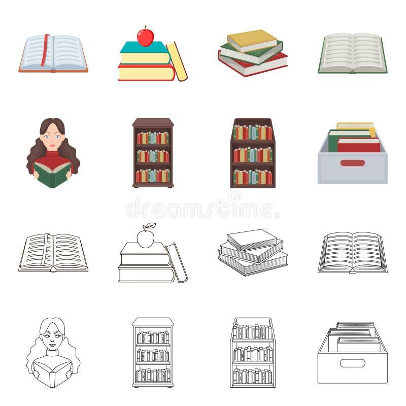 图书馆和课本标志传染媒介设计  设置图书馆和学校股票的传染媒介象 库存例证