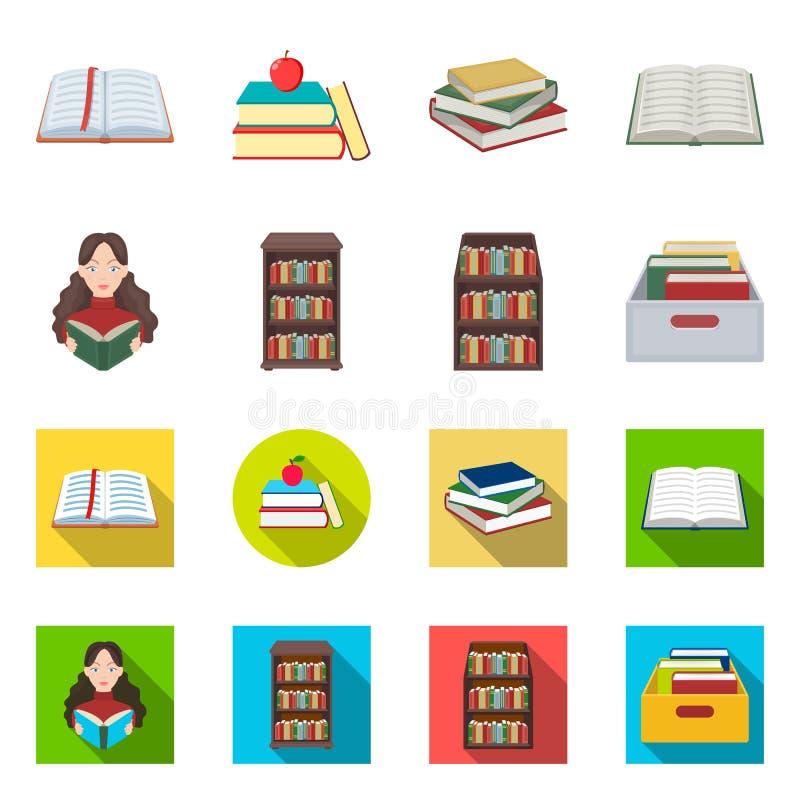 图书馆和课本标志被隔绝的对象  图书馆和学校储蓄传染媒介例证的汇集 向量例证
