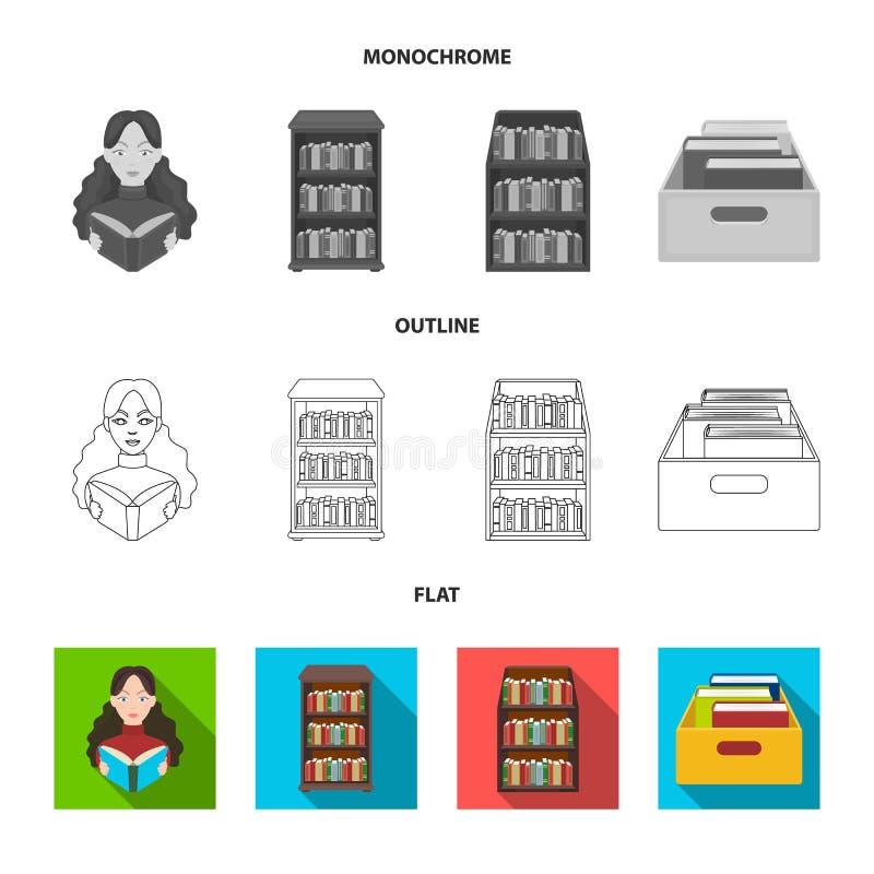 图书馆和课本标志被隔绝的对象  图书馆和学校股票简名的汇集网的 皇族释放例证