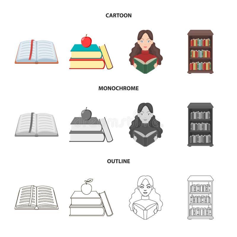 图书馆和课本标志被隔绝的对象  设置图书馆和学校储蓄传染媒介例证 向量例证
