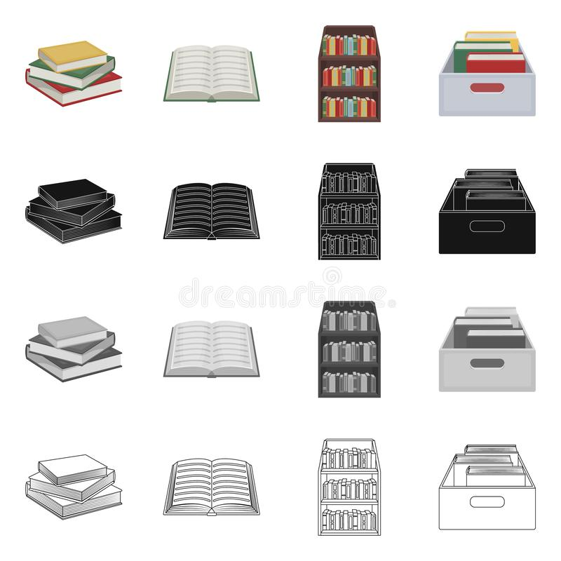 图书馆和课本象的传染媒介例证 设置图书馆和学校储蓄传染媒介例证 库存例证