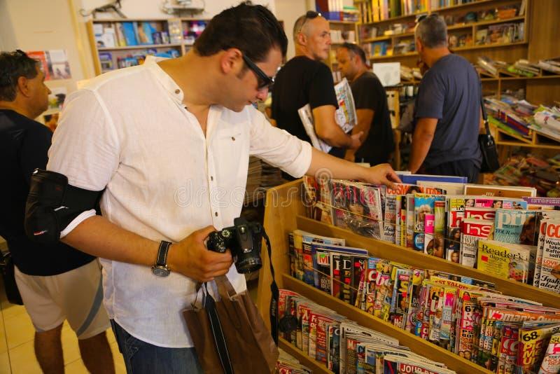 图书馆在希腊海岛 库存照片