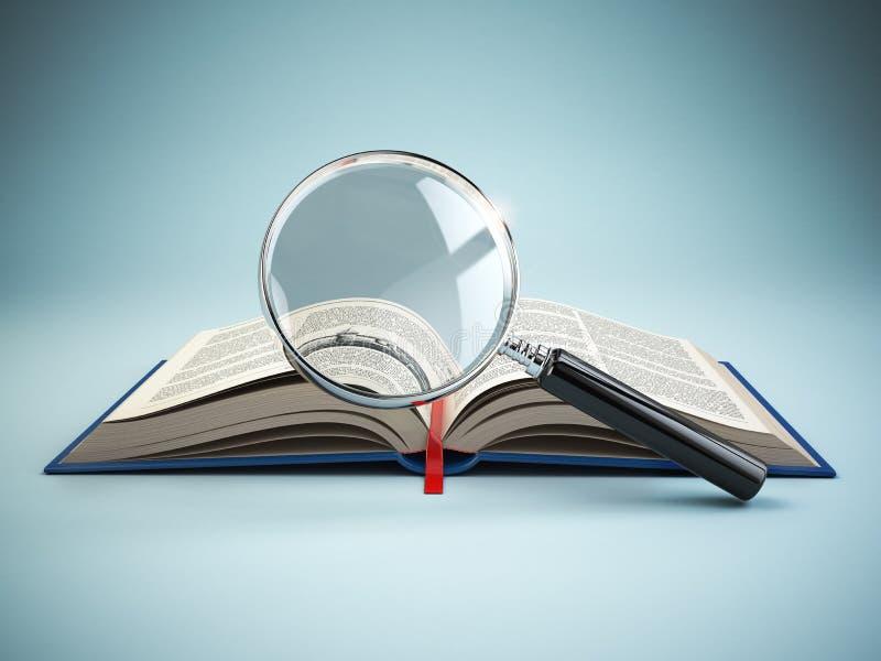 图书馆查寻 寸镜和书 培训的概念 库存例证