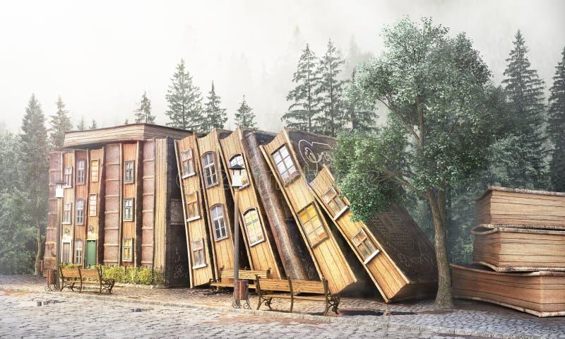图书馆概念 幻想文学 堆作为城市的街道的旧书 库存例证