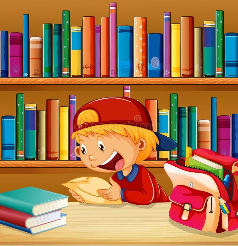 图书馆的一个男孩 向量例证