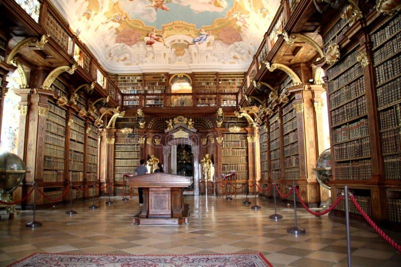 图书馆melk修道院 免版税库存照片
