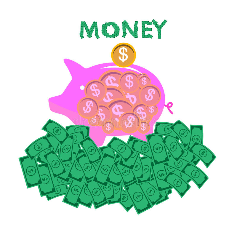 以图例解释者贪心,银行,金钱 空白 皇族释放例证