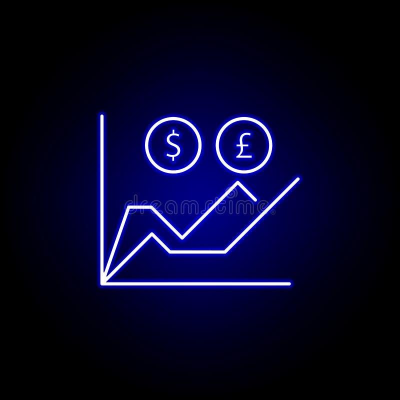 图图表美元在霓虹样式的磅象 财务例证的元素 标志和标志象可以为网,商标使用, 向量例证