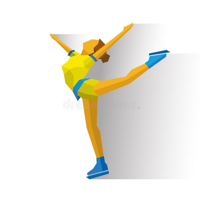图夫人滑冰 动画片滑冰的女孩训练 冰上表演 向量例证