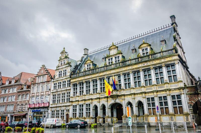 图尔奈房子,比利时 免版税库存图片
