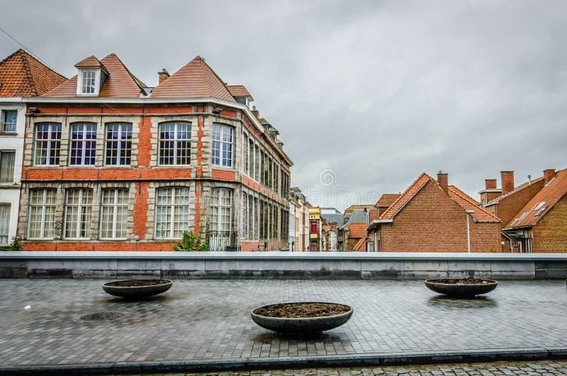 图尔奈房子,比利时 库存照片