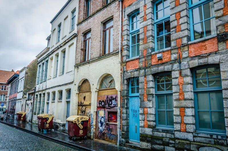 图尔奈房子,比利时 库存图片