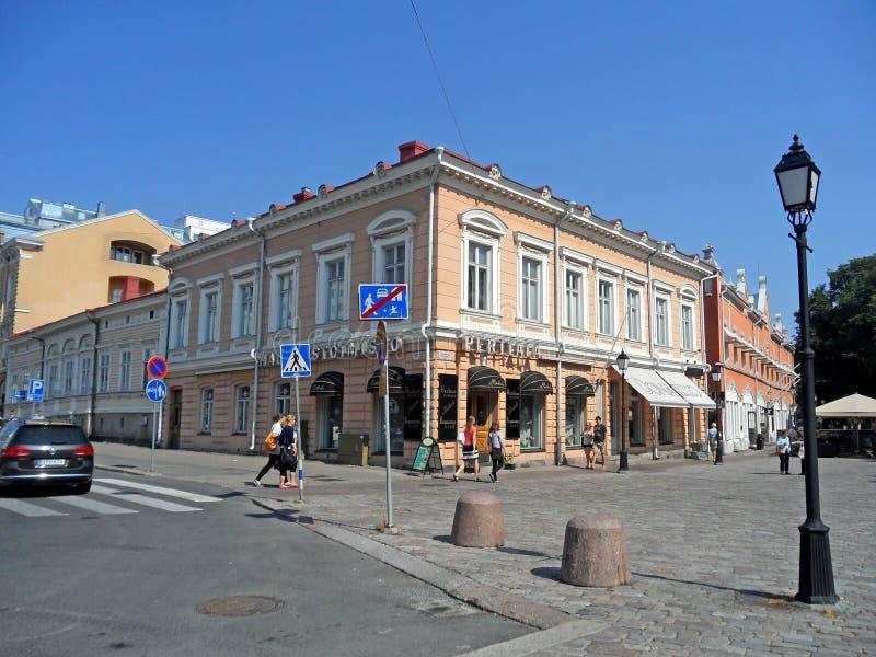 图尔库美好的citycentre,最旧的城市在芬兰,斯堪的那维亚 免版税库存图片