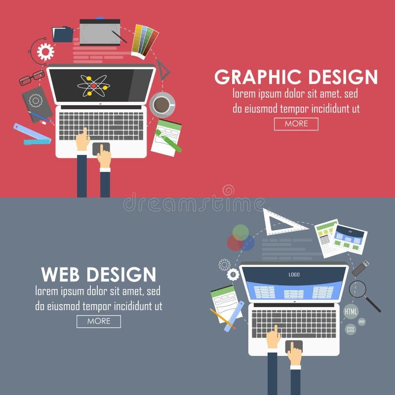 图形设计和网络设计的平的横幅 向量 向量例证