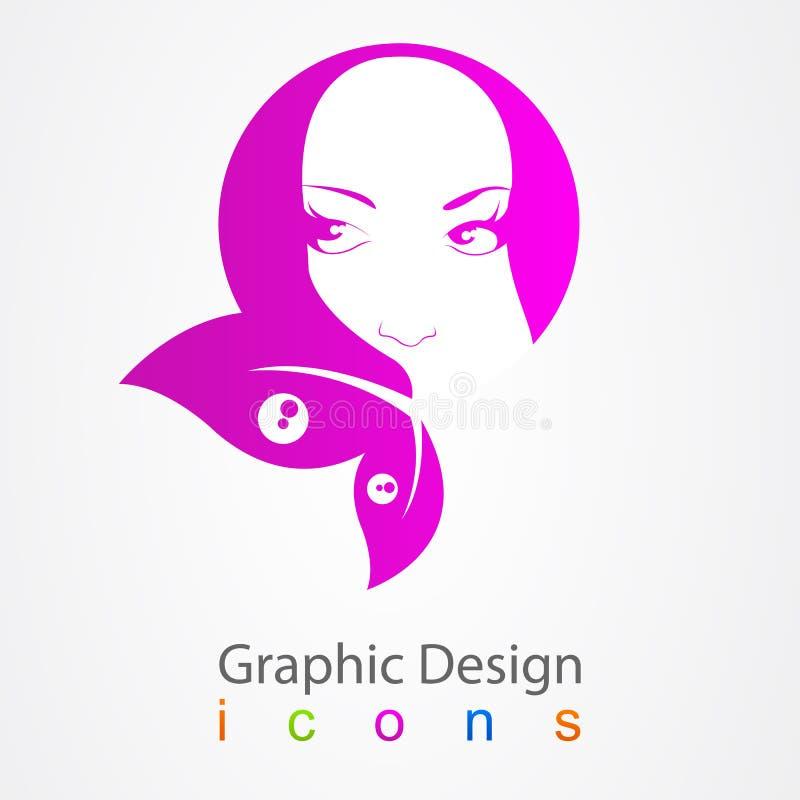 图形设计女孩元素标记 向量例证