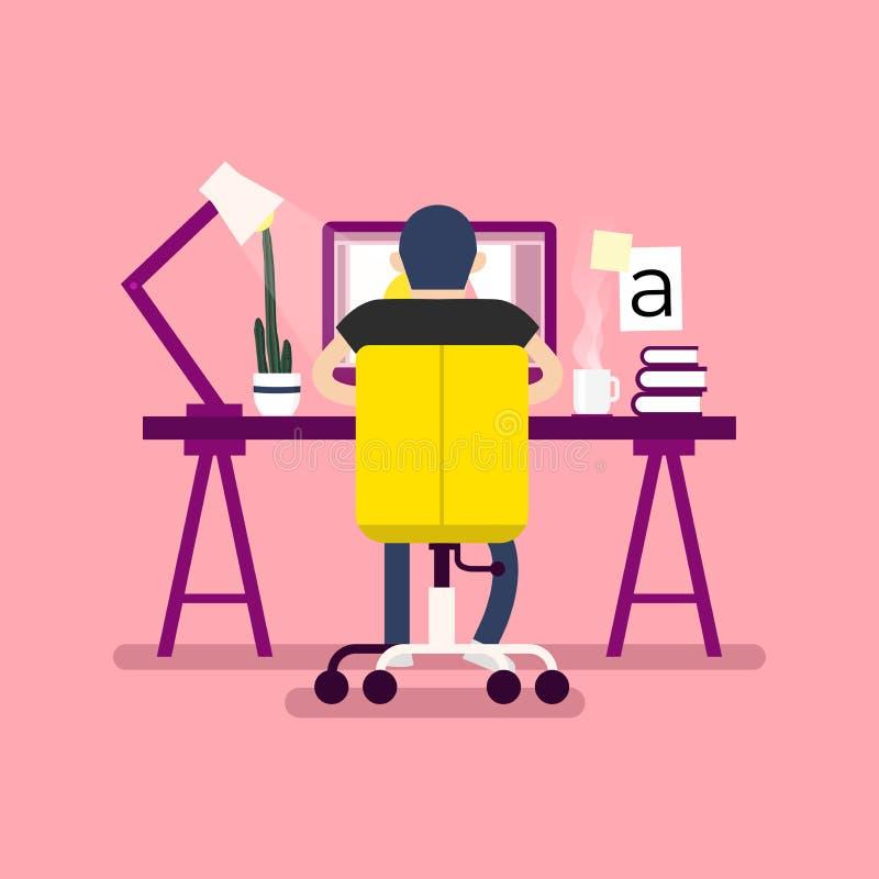 图形设计工作区 设计师坐书桌,后面看法 向量例证