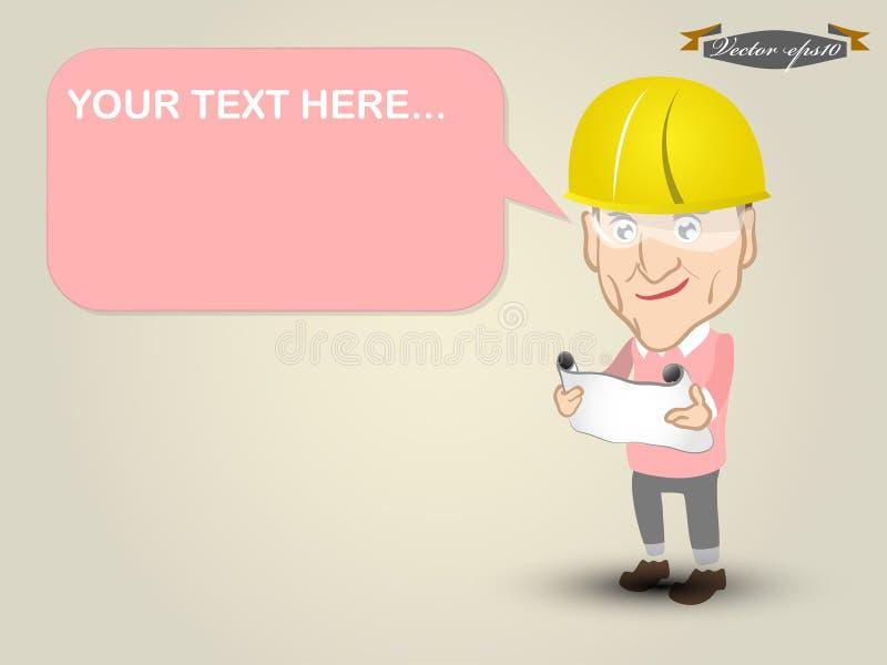 图形设计工程师佩带的安全帽概念传染媒介  免版税库存图片