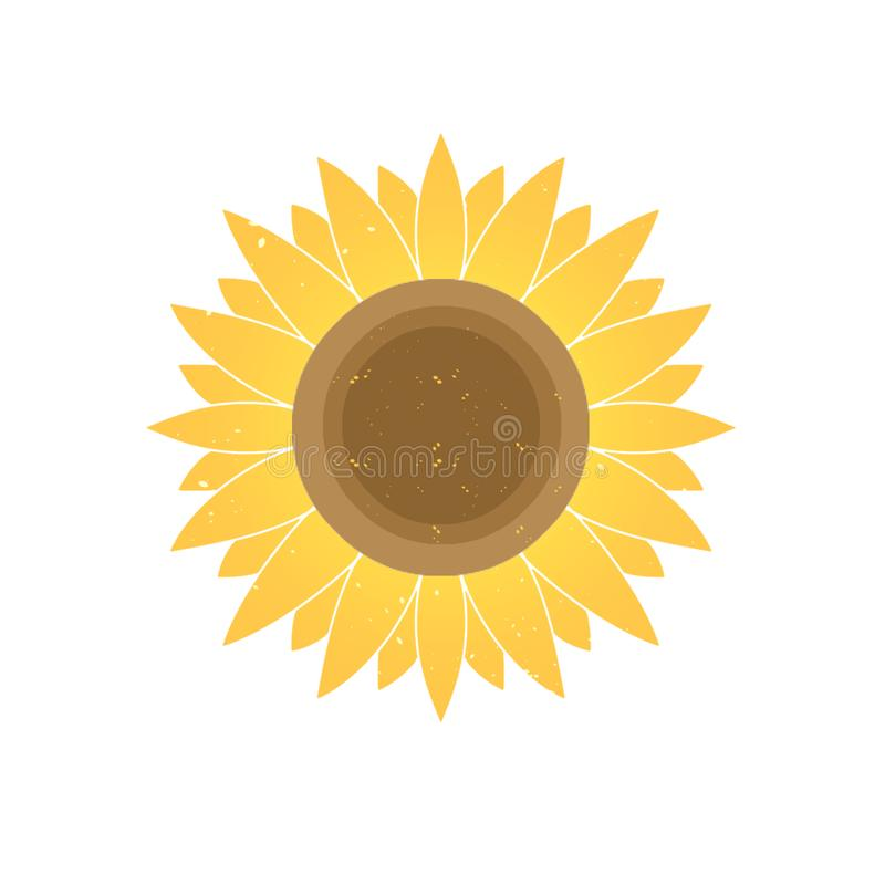 图形设计梯度黄色向日葵 库存例证