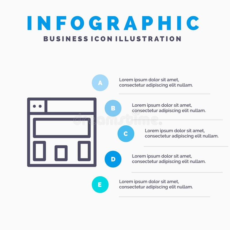 图形设计,布局线图标,带5个步骤的演示信息图形背景 库存例证