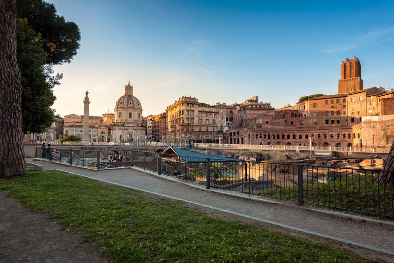 图拉真广场,罗马,意大利 库存图片