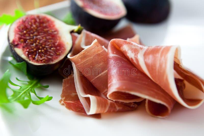 图新鲜的prosciutto 免版税库存照片