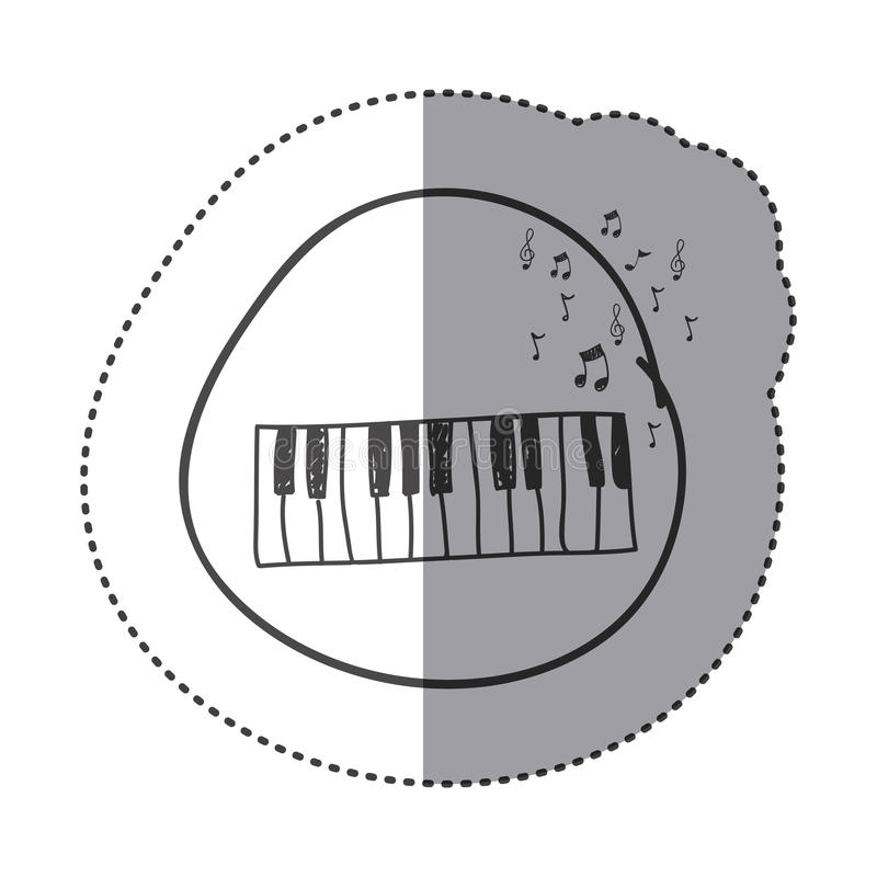 图有笔记音乐会象的钢琴仪器 免版税库存照片