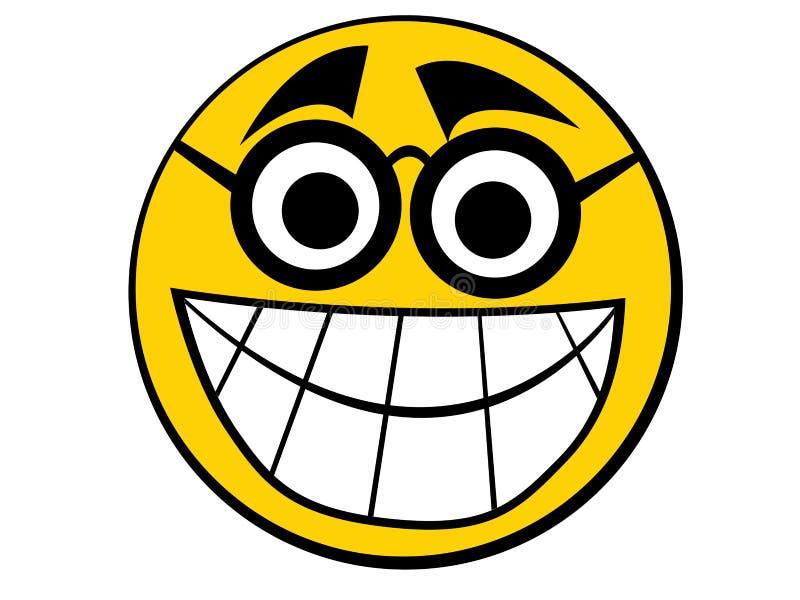 图标书呆子面带笑容 皇族释放例证