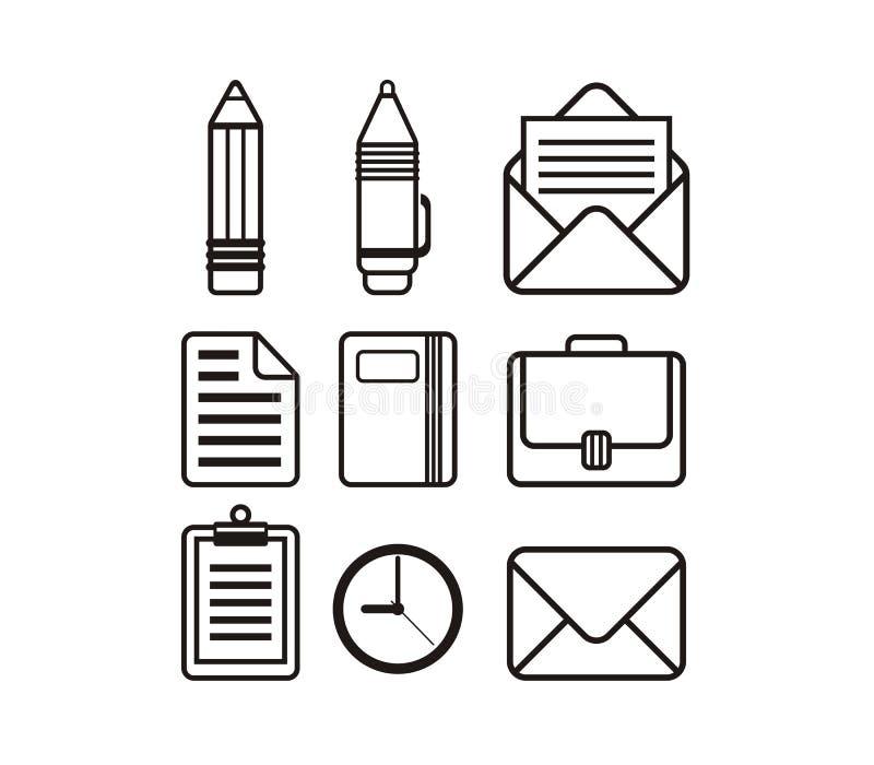 图标例证办公室集合文教用品向量 皇族释放例证