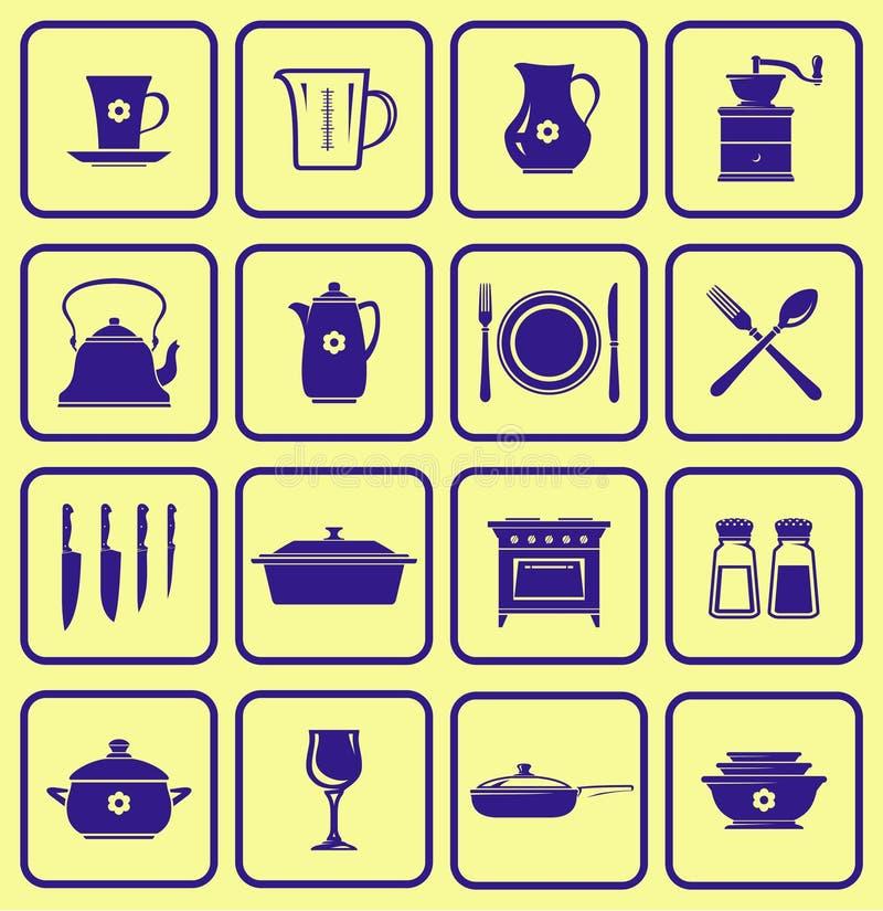 图标厨具集合向量 向量例证