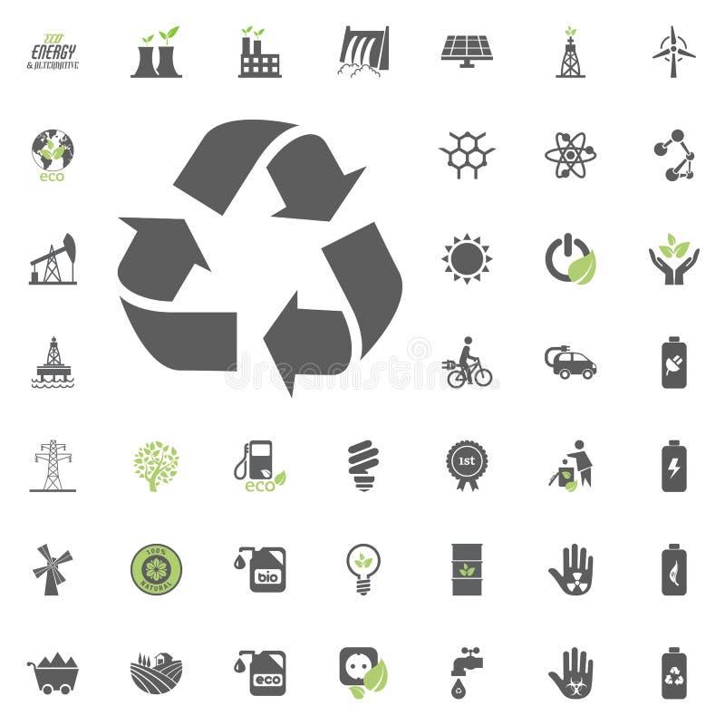 图标回收 Eco和可选择能源传染媒介象集合 能源电电力资源集合传染媒介 库存例证