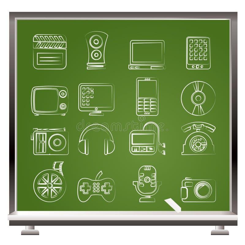 图标多媒体技术 库存例证