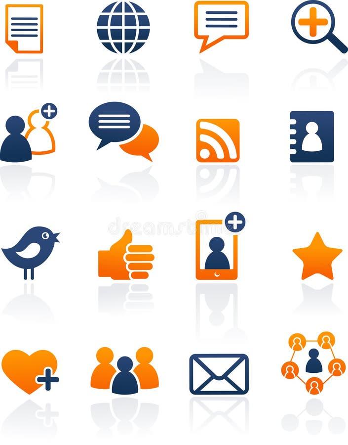 图标媒体网络集合社会向量 库存例证