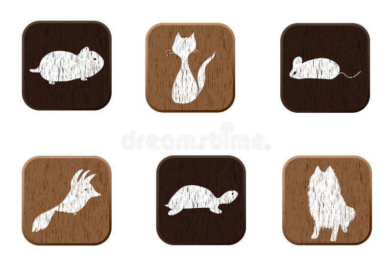 图标宠物宠物被设置的界面现出轮廓木 向量例证