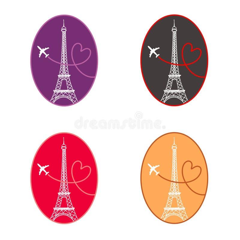 图标巴黎集 向量例证