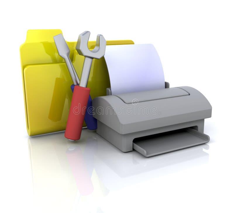 图标打印机设置 皇族释放例证
