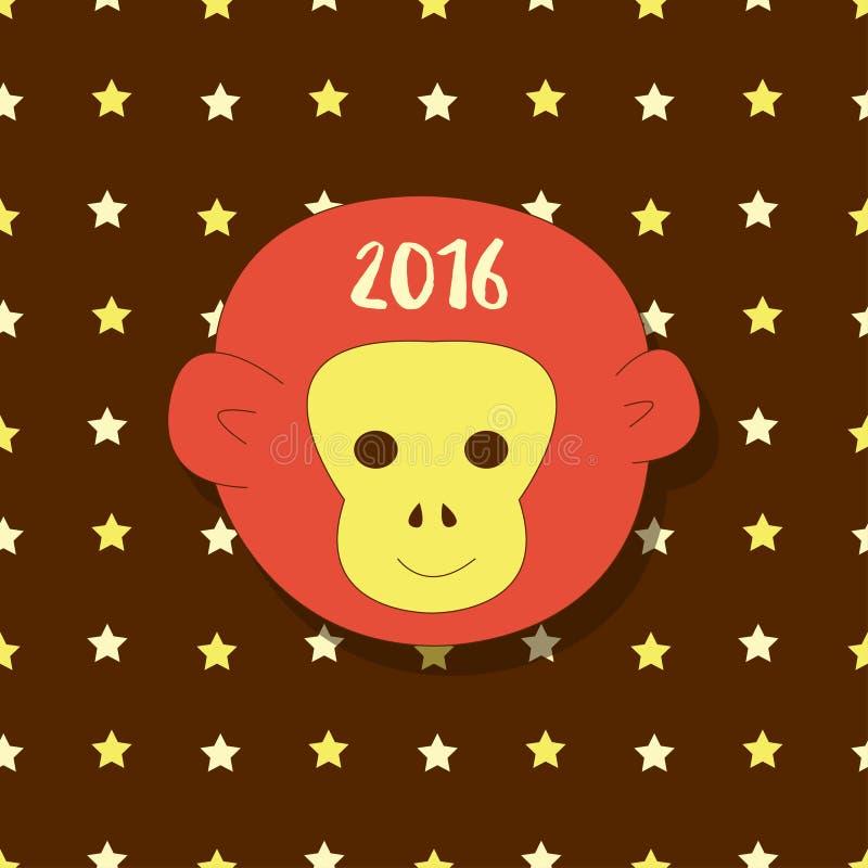 图标新年度 标志2016年 在星背景的猴子头 传染媒介简单的贺卡,明信片 库存例证
