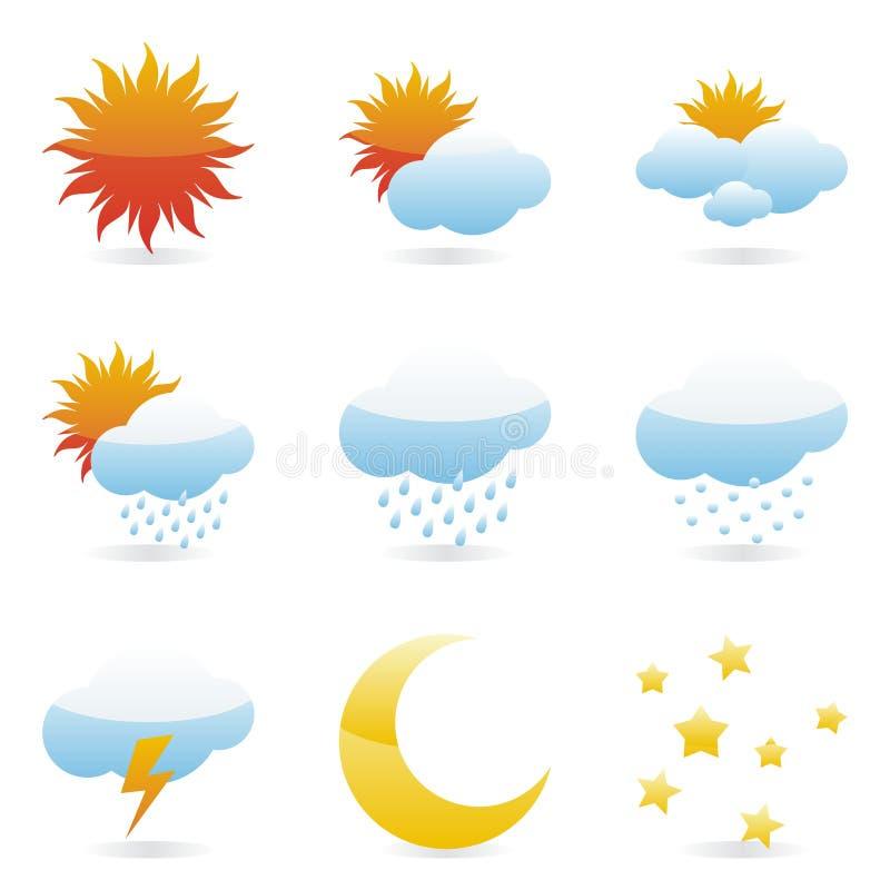 图标查出的天气 库存例证