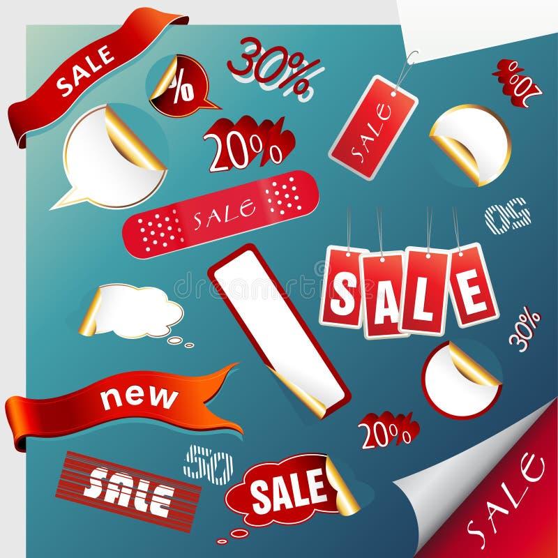 图标标签销售额集合贴纸 库存例证
