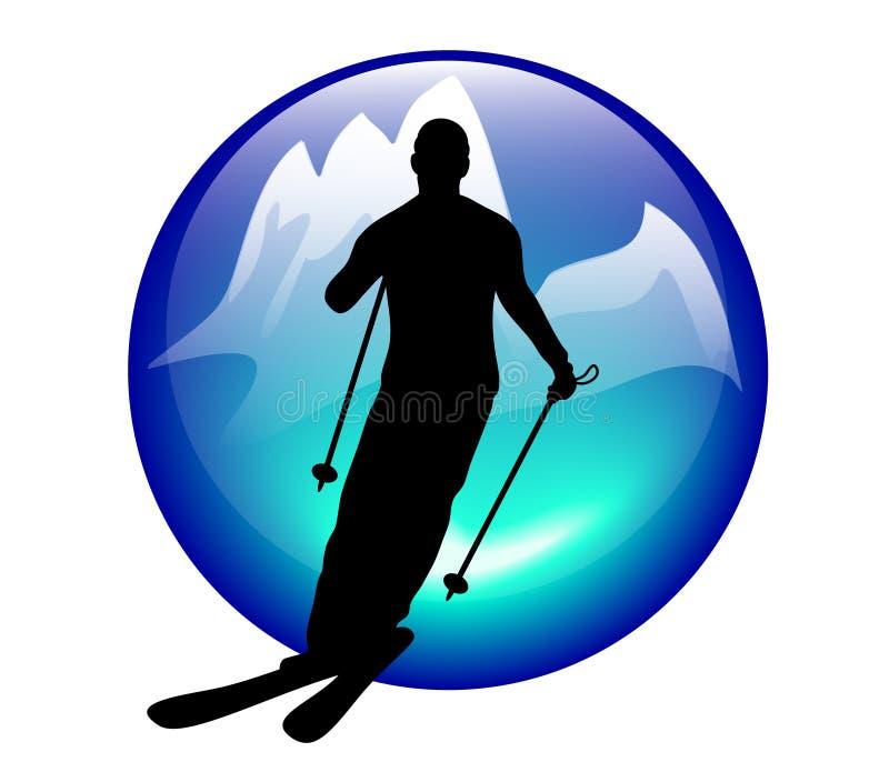 图标滑雪障碍滑雪 库存例证