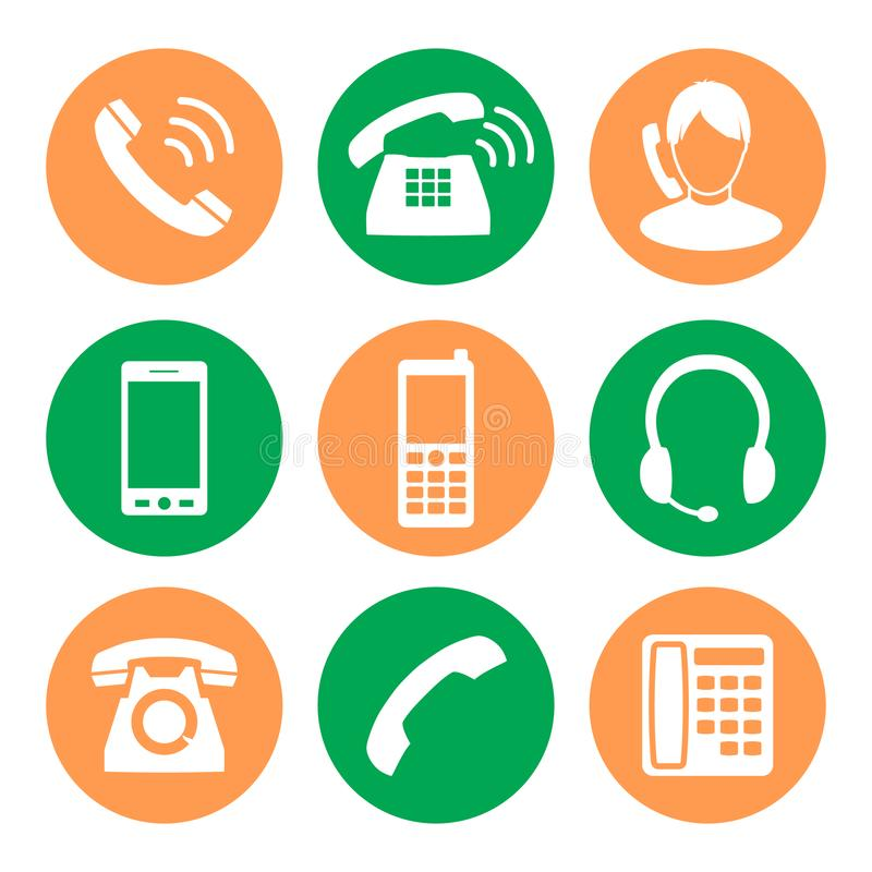 图标电话机贴纸三 在平的设计样式的象  向量例证