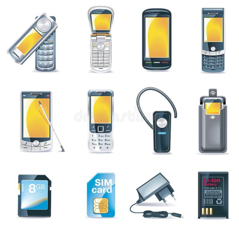图标移动电话被设置的向量 库存例证